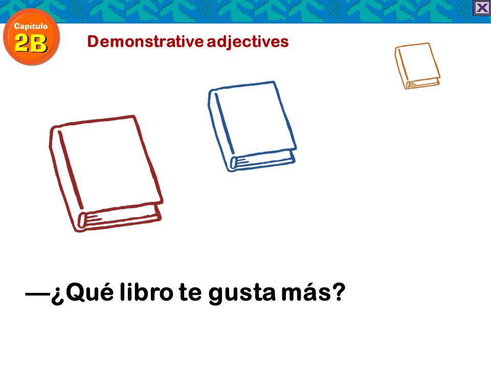 Demonstrative adjectives ¿Qué libro te gusta más?
