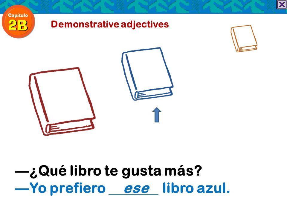 Demonstrative adjectives ¿Qué libro te gusta más? Yo prefiero ese libro azul.