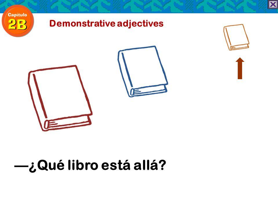 Demonstrative adjectives ¿Qué libro está allá?
