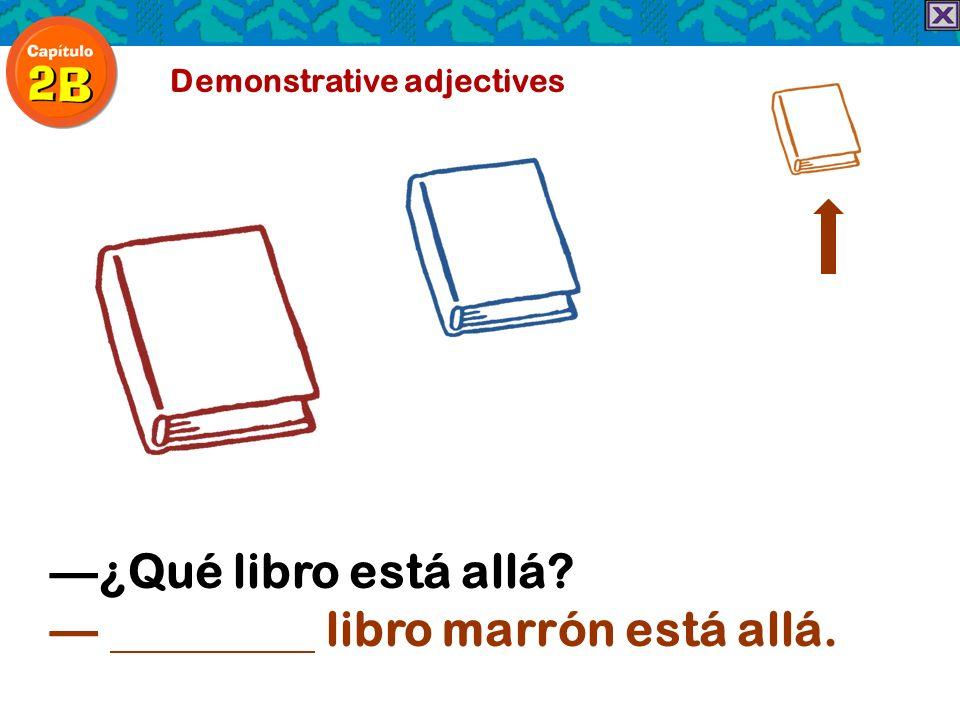 Demonstrative adjectives ¿Qué libro está allá? libro marrón está allá.