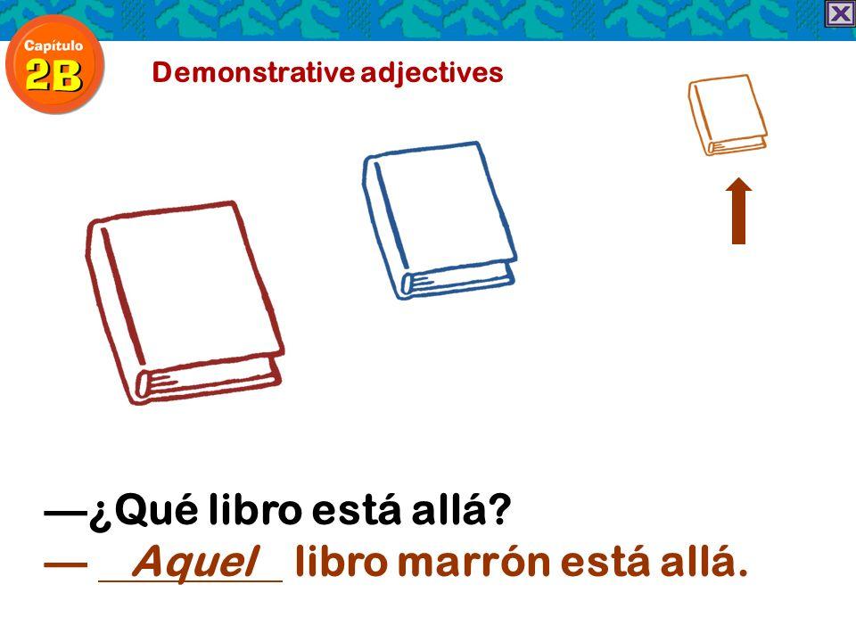 Demonstrative adjectives ¿Qué libro está allá? Aquel libro marrón está allá.