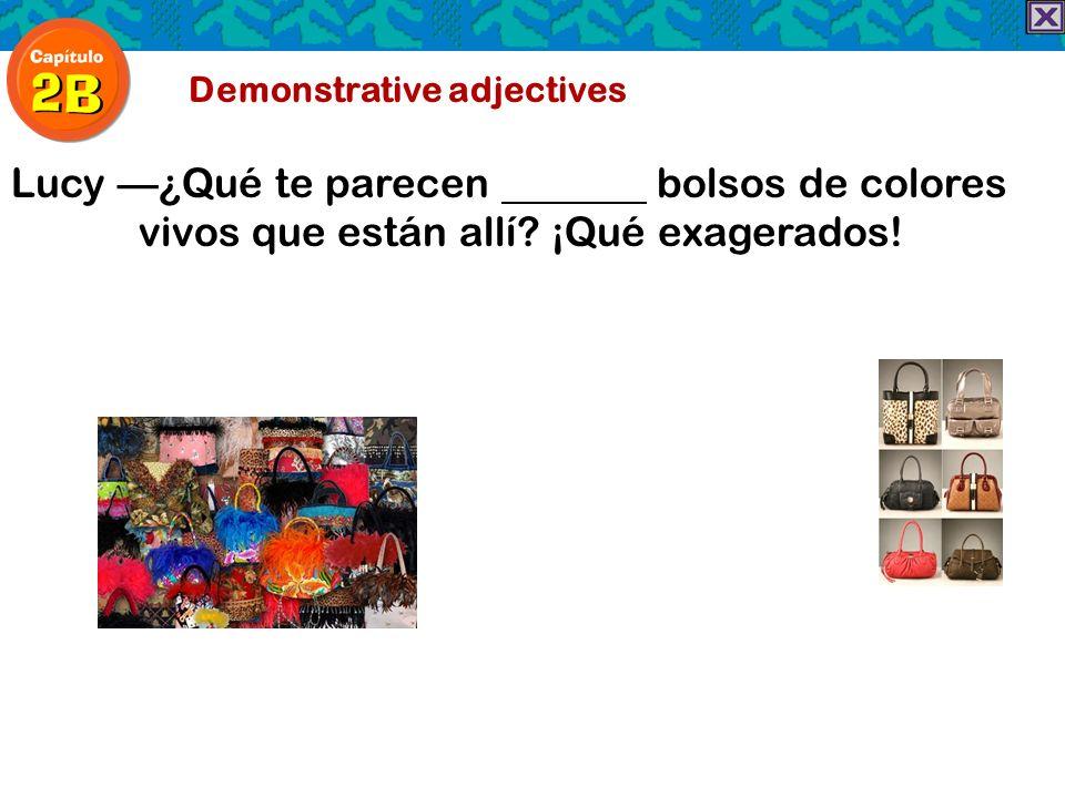 Demonstrative adjectives Lucy¿Qué te parecen bolsos de colores vivos que están allí? ¡Qué exagerados!