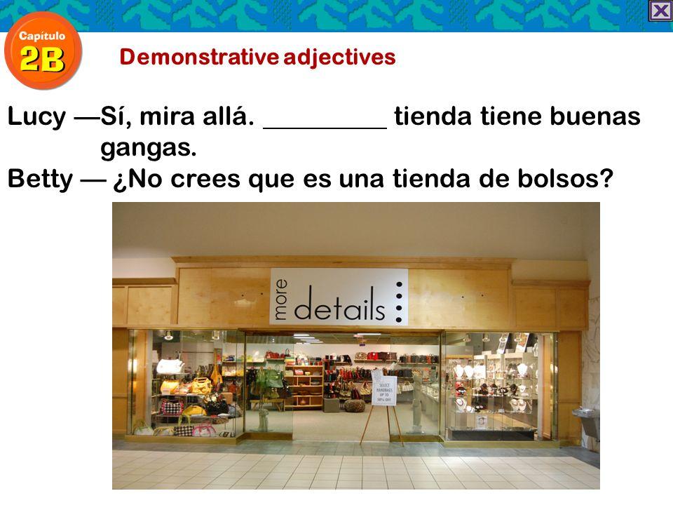 Demonstrative adjectives LucySí, mira allá. tienda tiene buenas gangas. Betty ¿No crees que es una tienda de bolsos?