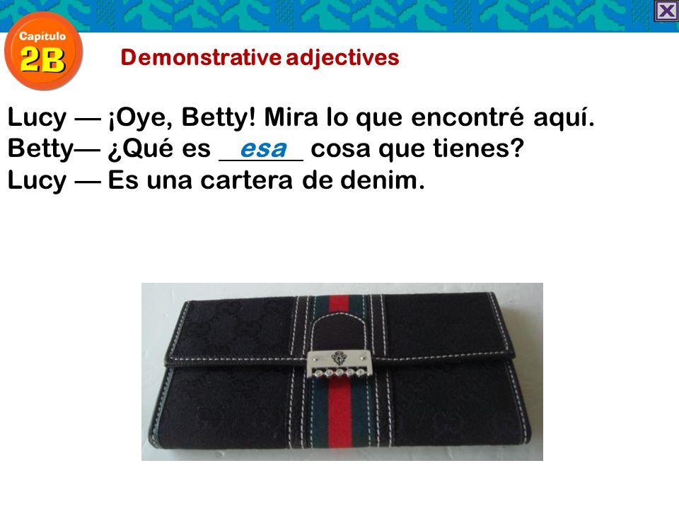 Demonstrative adjectives Lucy ¡Oye, Betty! Mira lo que encontré aquí. Betty ¿Qué es esa cosa que tienes? Lucy Es una cartera de denim.