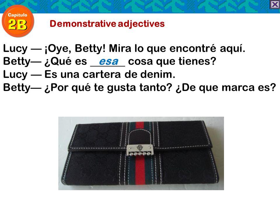 Demonstrative adjectives Lucy ¡Oye, Betty! Mira lo que encontré aquí. Betty ¿Qué es esa cosa que tienes? Lucy Es una cartera de denim. Betty ¿Por qué