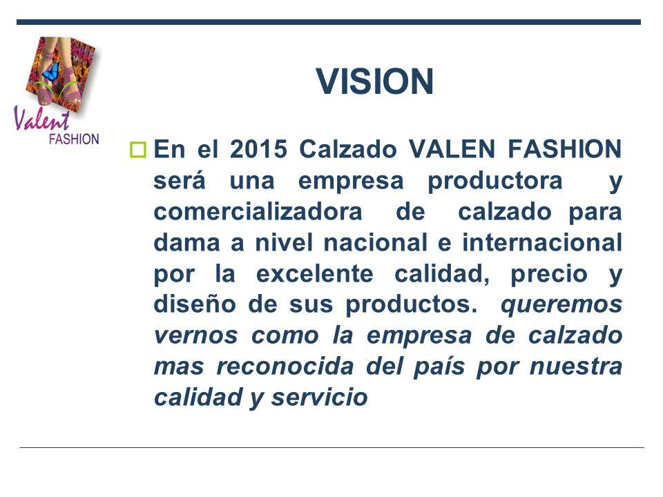 VISION En el 2015 Calzado VALEN FASHION será una empresa productora y comercializadora de calzado para dama a nivel nacional e internacional por la ex