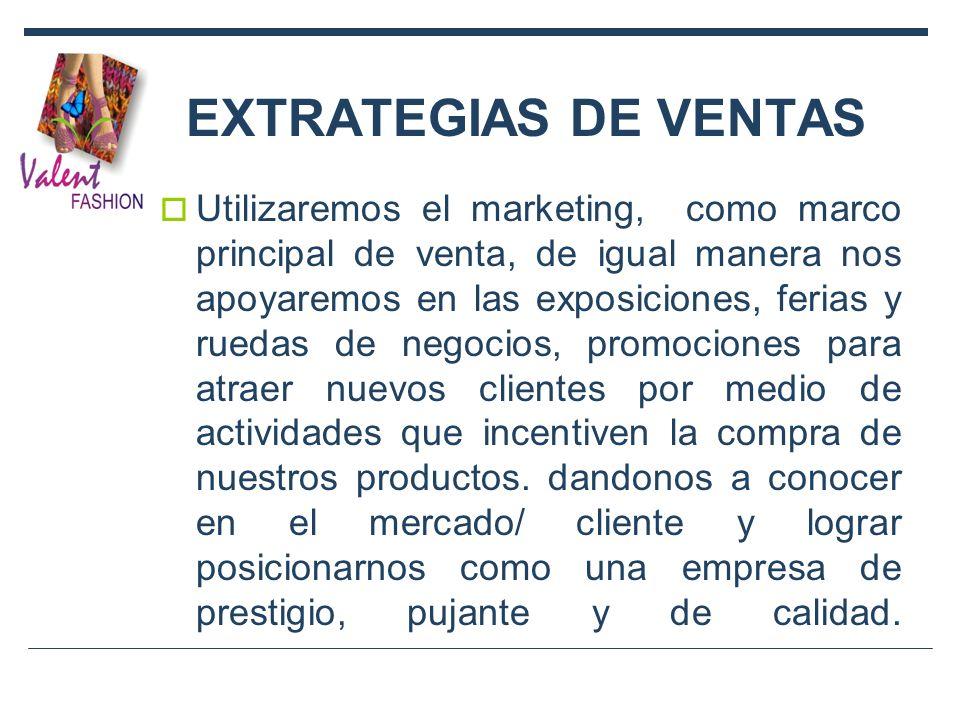 EXTRATEGIAS DE VENTAS Utilizaremos el marketing, como marco principal de venta, de igual manera nos apoyaremos en las exposiciones, ferias y ruedas de