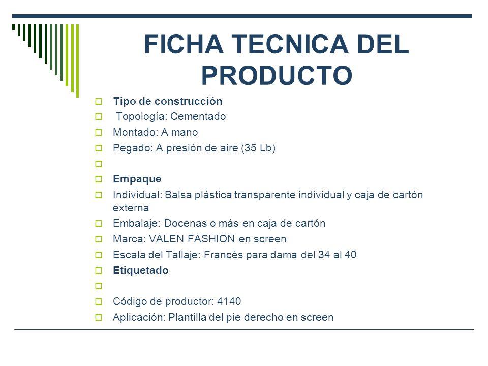 FICHA TECNICA DEL PRODUCTO Tipo de construcción Topología: Cementado Montado: A mano Pegado: A presión de aire (35 Lb) Empaque Individual: Balsa plást
