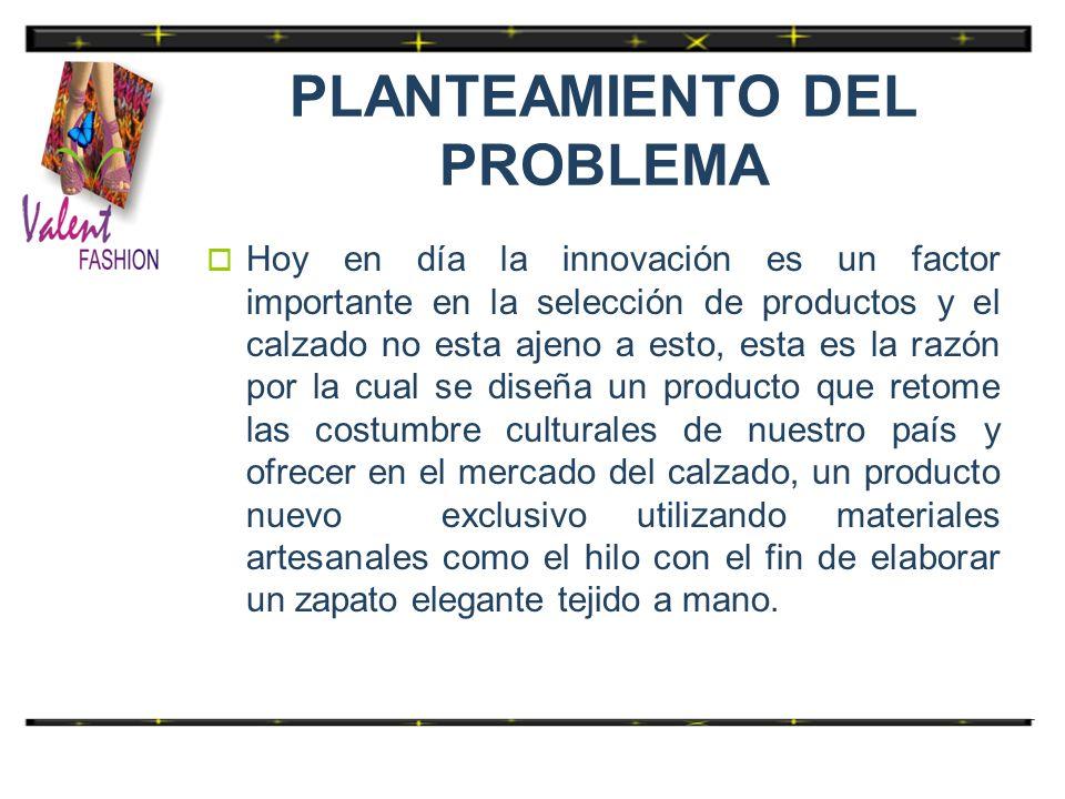 PLANTEAMIENTO DEL PROBLEMA Hoy en día la innovación es un factor importante en la selección de productos y el calzado no esta ajeno a esto, esta es la