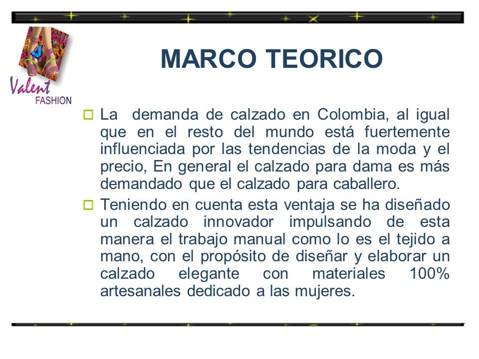 MARCO TEORICO La demanda de calzado en Colombia, al igual que en el resto del mundo está fuertemente influenciada por las tendencias de la moda y el p