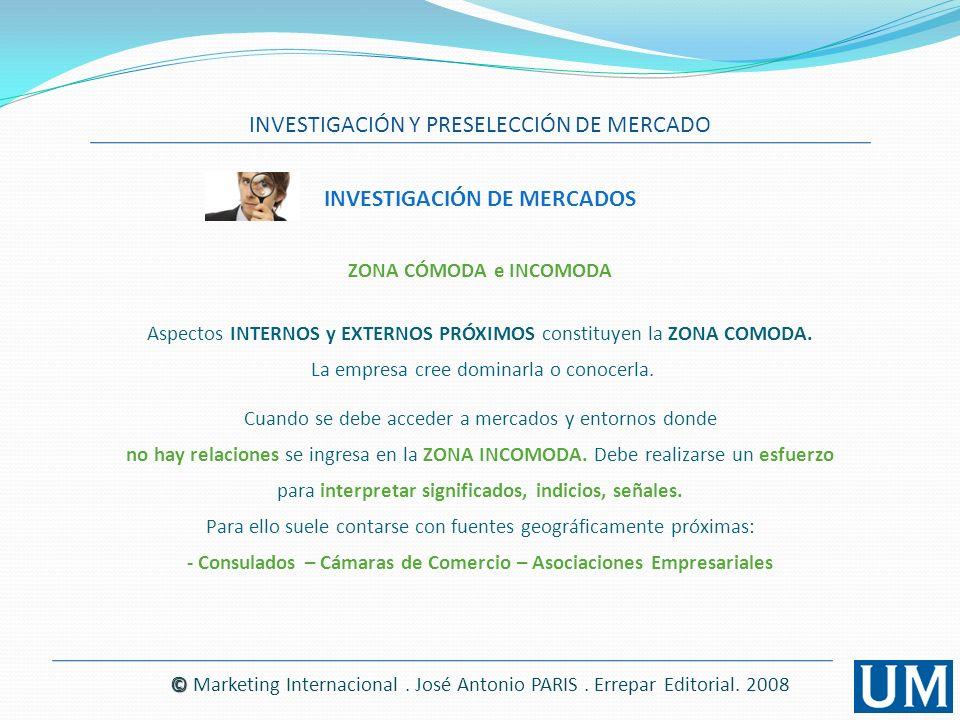 INVESTIGACIÓN Y PRESELECCIÓN DE MERCADO © © Marketing Internacional. José Antonio PARIS. Errepar Editorial. 2008 INVESTIGACIÓN DE MERCADOS ZONA CÓMODA