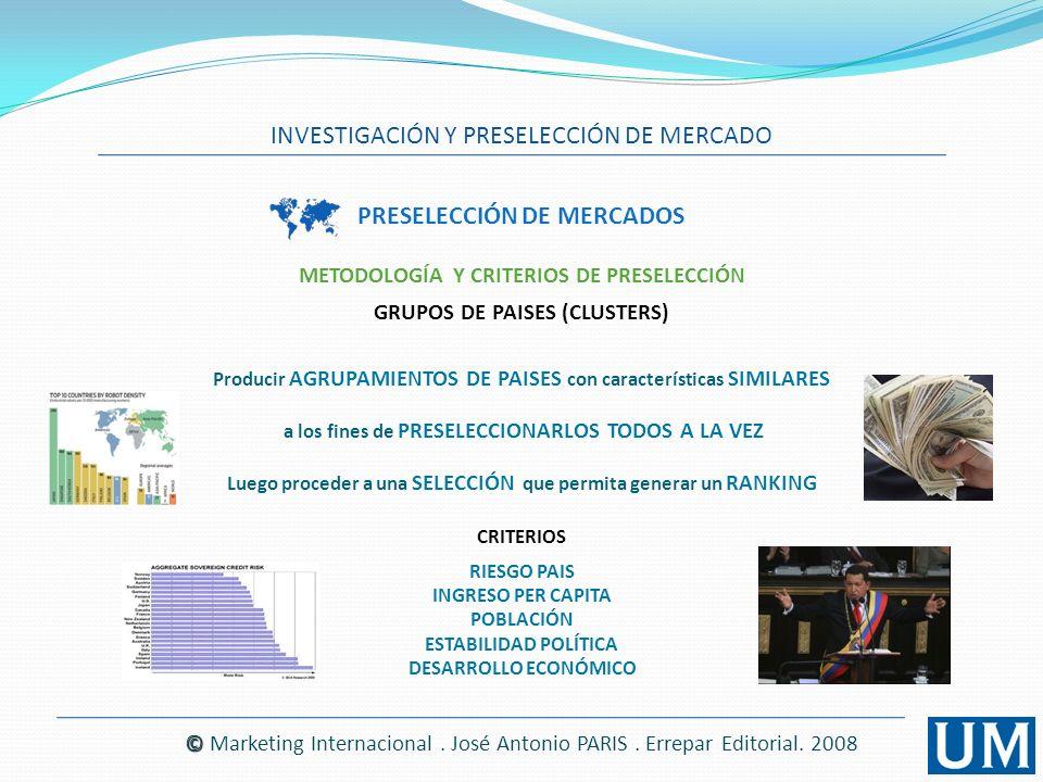 INVESTIGACIÓN Y PRESELECCIÓN DE MERCADO © © Marketing Internacional. José Antonio PARIS. Errepar Editorial. 2008 PRESELECCIÓN DE MERCADOS Producir AGR