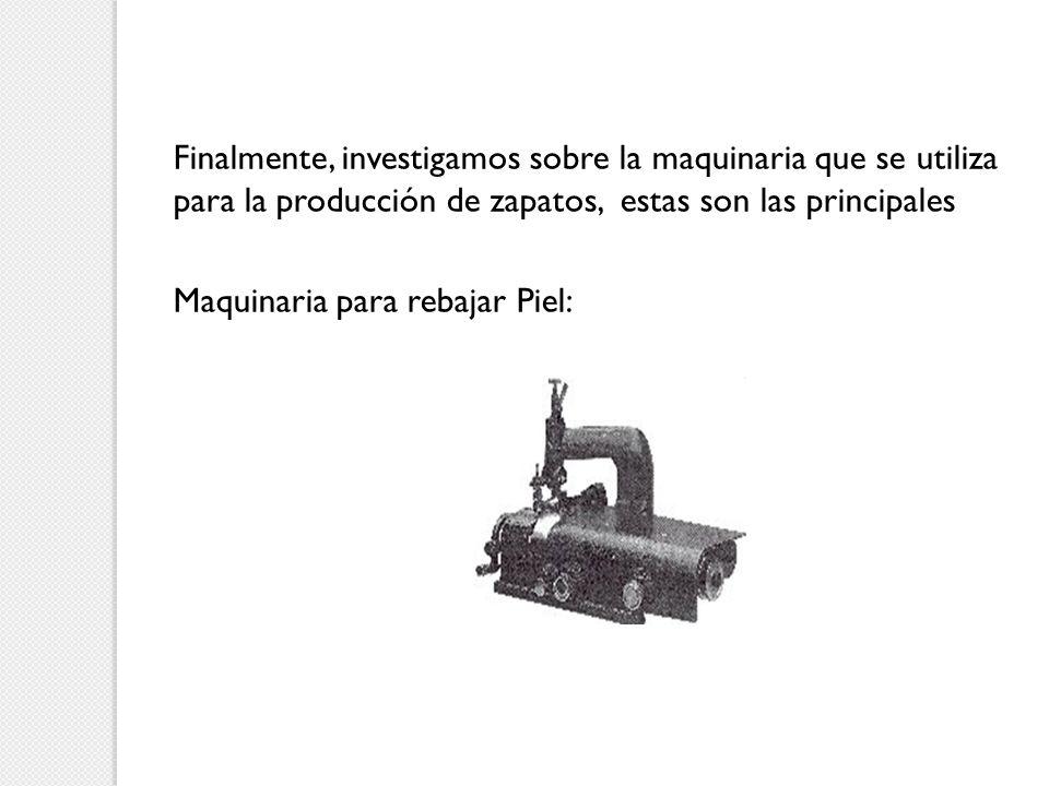 Finalmente, investigamos sobre la maquinaria que se utiliza para la producción de zapatos, estas son las principales Maquinaria para rebajar Piel: