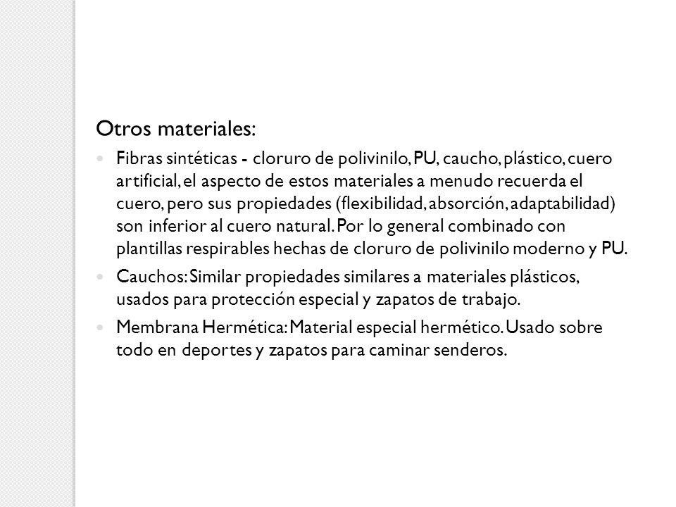 Otros materiales: Fibras sintéticas - cloruro de polivinilo, PU, caucho, plástico, cuero artificial, el aspecto de estos materiales a menudo recuerda