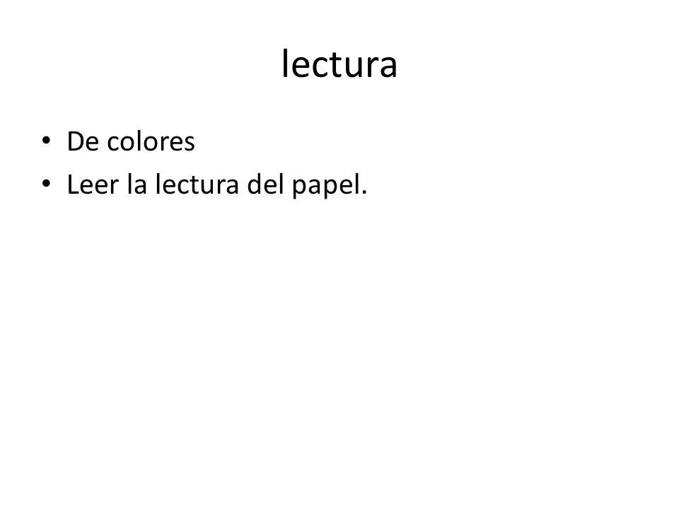 lectura De colores Leer la lectura del papel.
