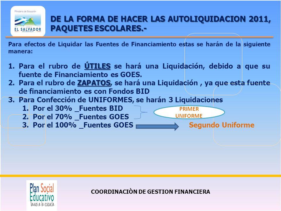 COORDINACIÒN DE GESTION FINANCIERA DE LA FORMA DE HACER LAS AUTOLIQUIDACION 2011, PAQUETES ESCOLARES.- Para efectos de Liquidar las Fuentes de Financi