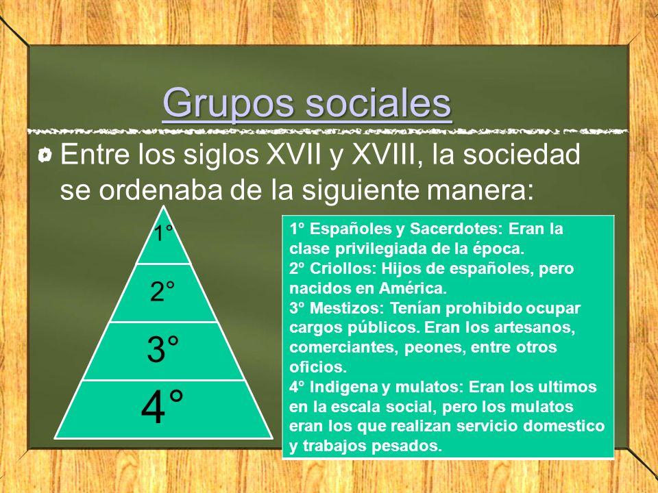 Grupos sociales Grupos sociales Entre los siglos XVII y XVIII, la sociedad se ordenaba de la siguiente manera: 1° 2° 3° 4° 1° Españoles y Sacerdotes: Eran la clase privilegiada de la época.