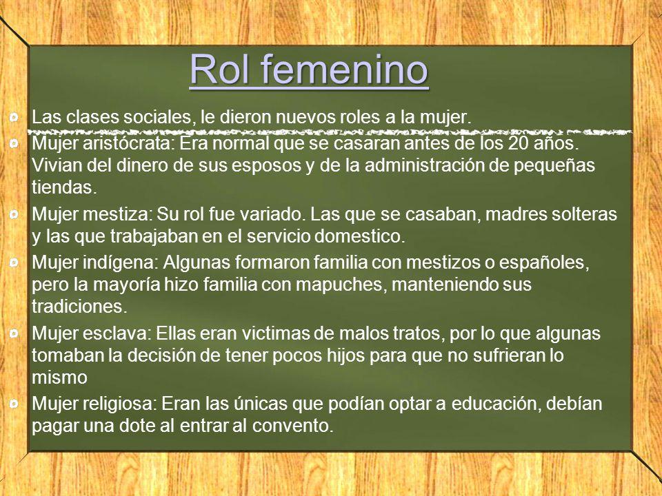 Rol femenino Rol femenino Las clases sociales, le dieron nuevos roles a la mujer.