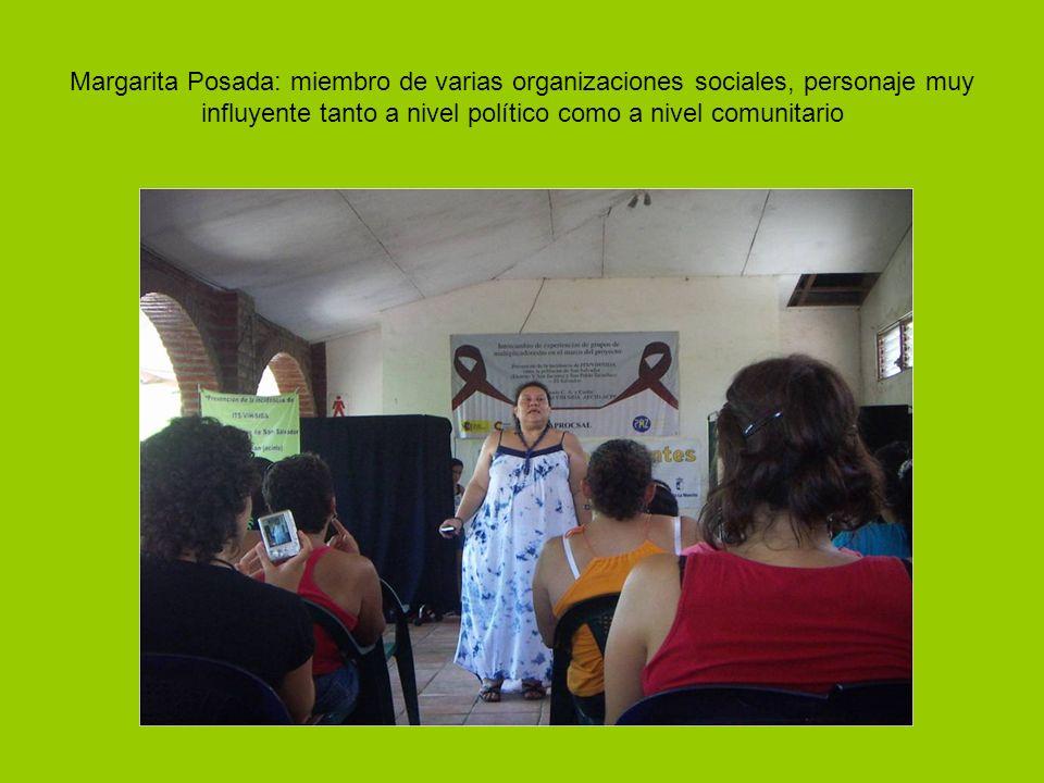 Margarita Posada: miembro de varias organizaciones sociales, personaje muy influyente tanto a nivel político como a nivel comunitario