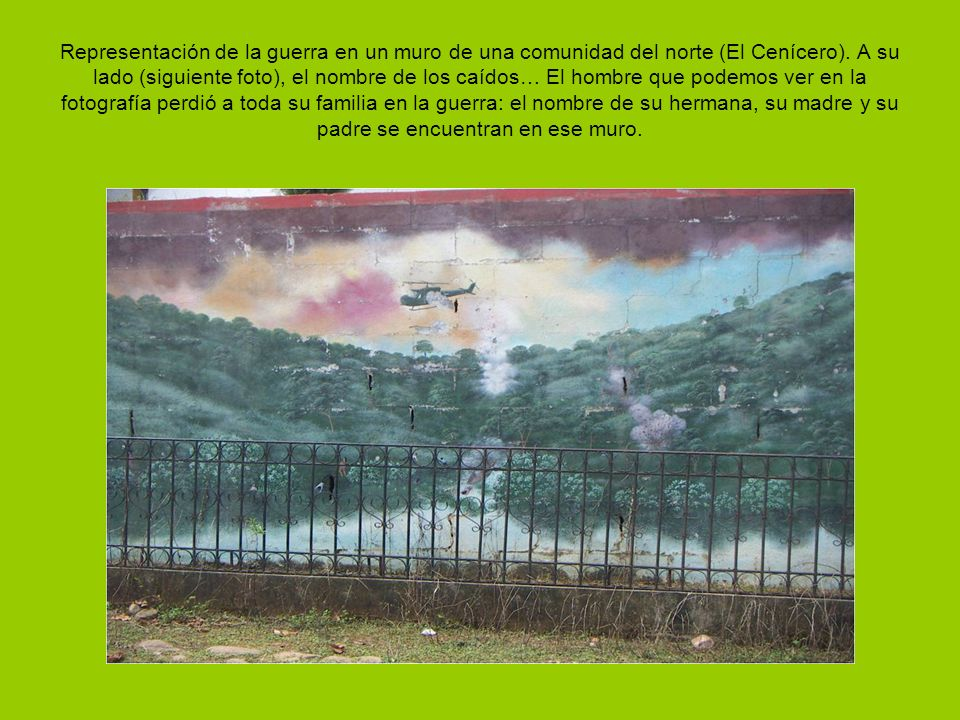 Representación de la guerra en un muro de una comunidad del norte (El Cenícero).