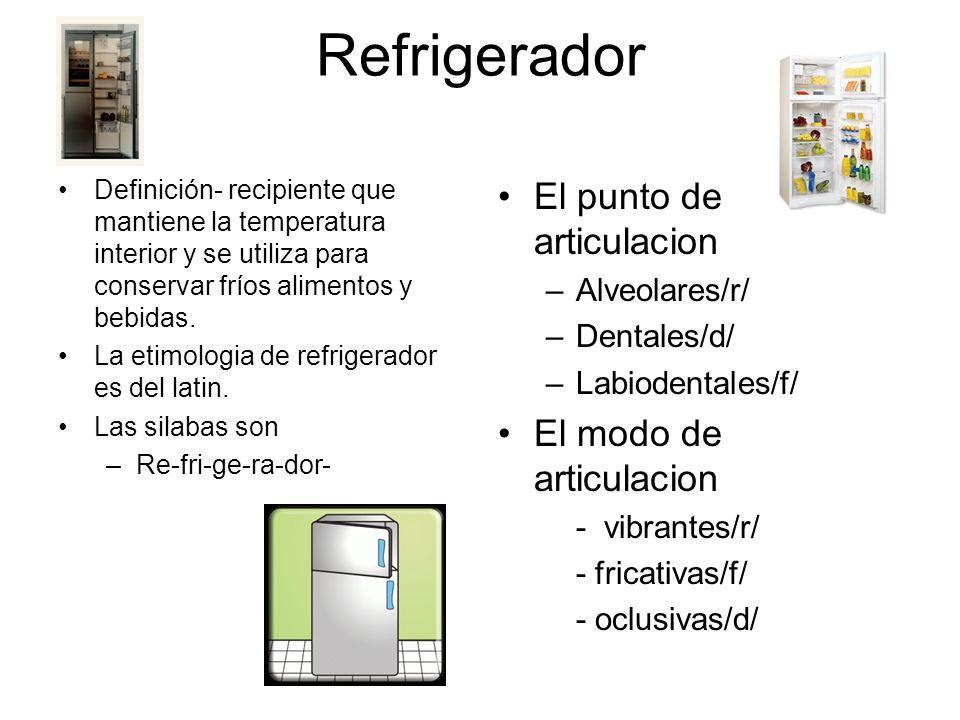 Refrigerador Definición- recipiente que mantiene la temperatura interior y se utiliza para conservar fríos alimentos y bebidas.