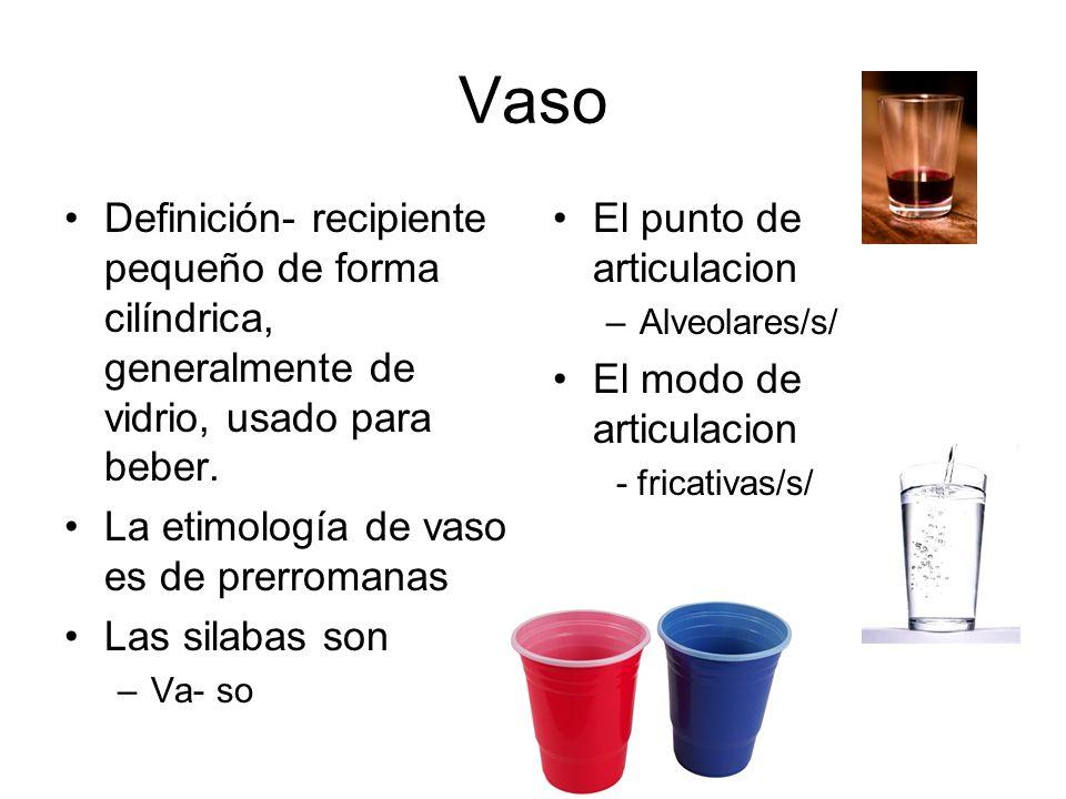 Vaso Definición- recipiente pequeño de forma cilíndrica, generalmente de vidrio, usado para beber.