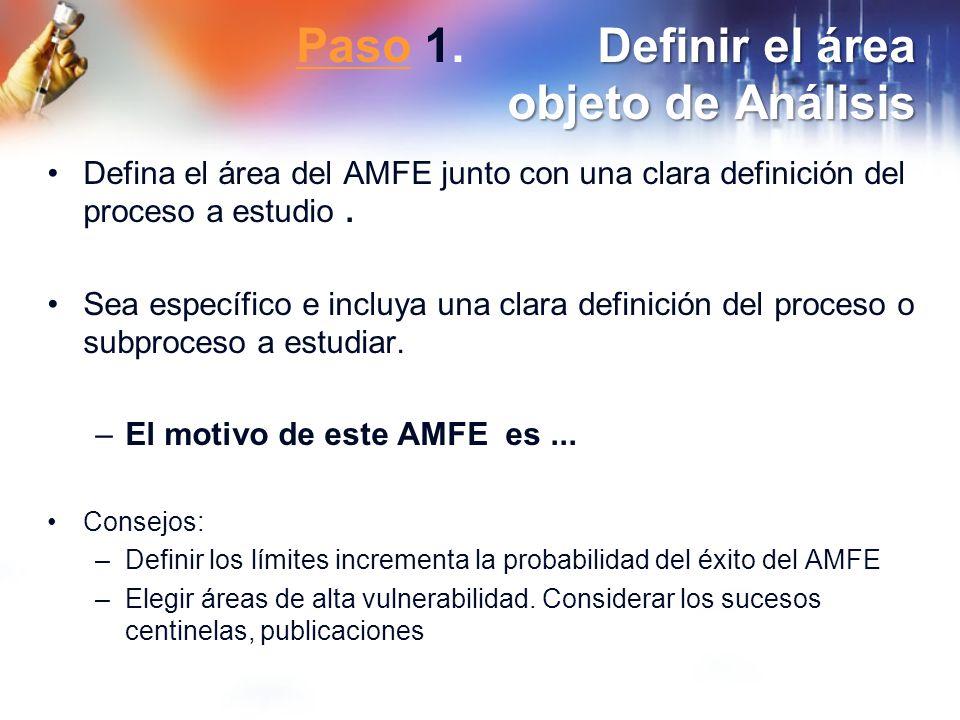 Definir el área objeto de Análisis Paso 1. Definir el área objeto de Análisis Paso Defina el área del AMFE junto con una clara definición del proceso