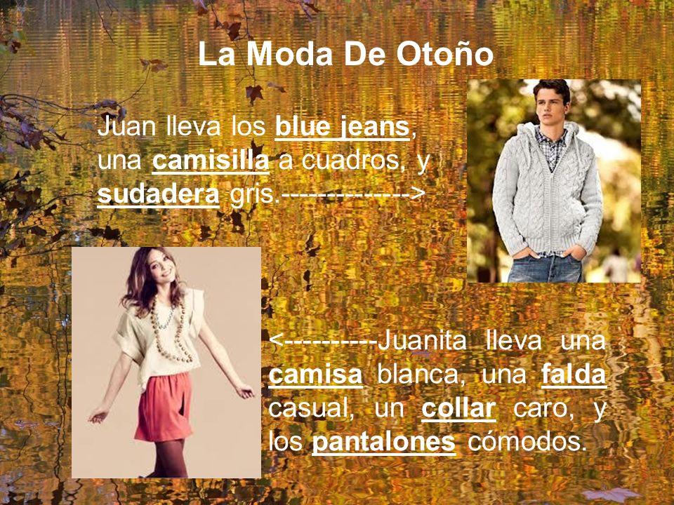 La Moda De Otoño Juan lleva los blue jeans, una camisilla a cuadros, y sudadera gris.--------------> <----------Juanita lleva una camisa blanca, una falda casual, un collar caro, y los pantalones cómodos.