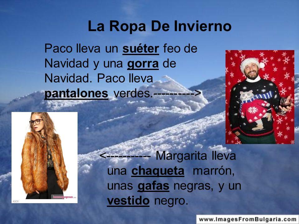 La Ropa De Invierno <----------- Margarita lleva una chaqueta marrón, unas gafas negras, y un vestido negro.