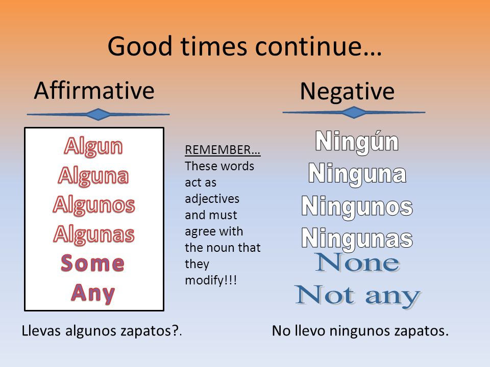 Good times continue… Affirmative Negative Llevas algunos zapatos?. No llevo ningunos zapatos. REMEMBER… These words act as adjectives and must agree w