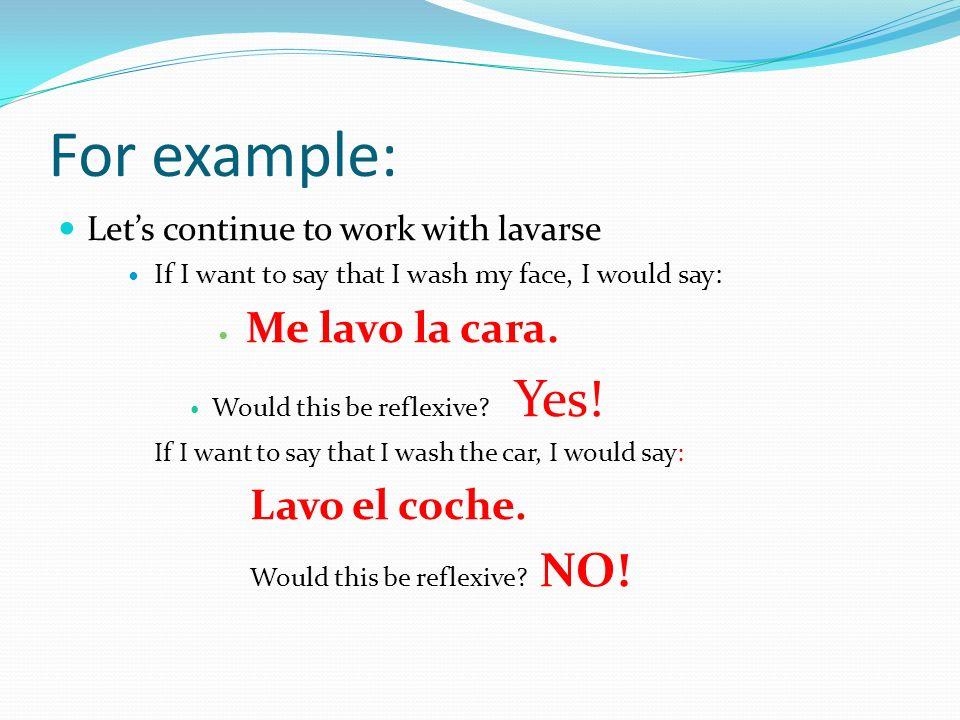So, what are the reflexive pronouns? Here ya go! MeNos TeOs Se