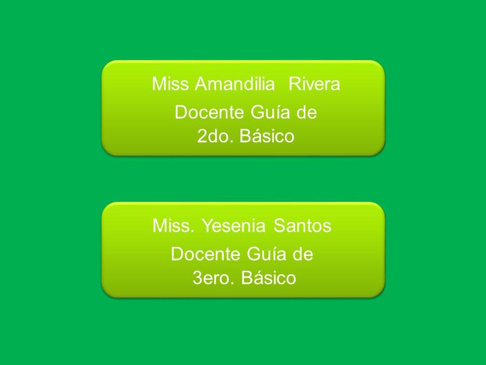 Miss Amandilia Rivera Docente Guía de 2do. Básico Miss. Yesenia Santos Docente Guía de 3ero. Básico