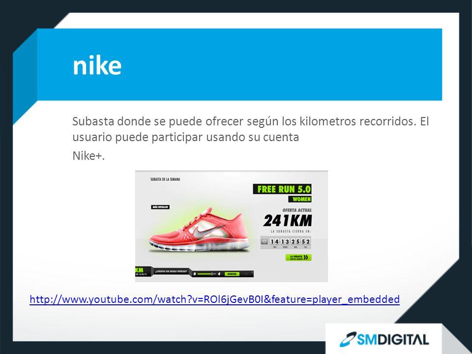 nike Subasta donde se puede ofrecer según los kilometros recorridos.