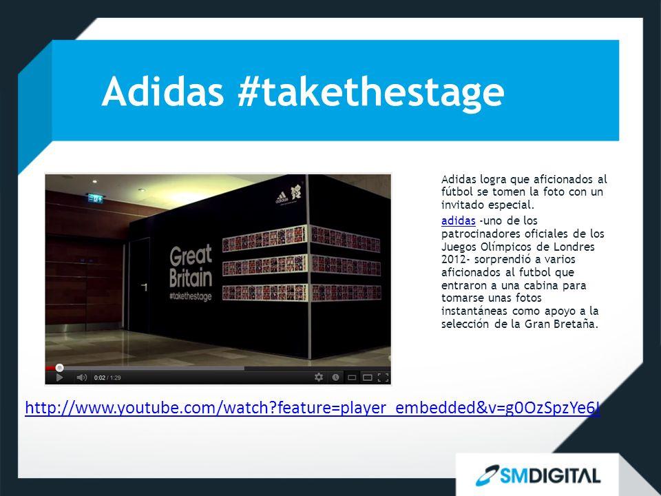 Adidas #takethestage http://www.youtube.com/watch feature=player_embedded&v=g0OzSpzYe6I Adidas logra que aficionados al fútbol se tomen la foto con un invitado especial.