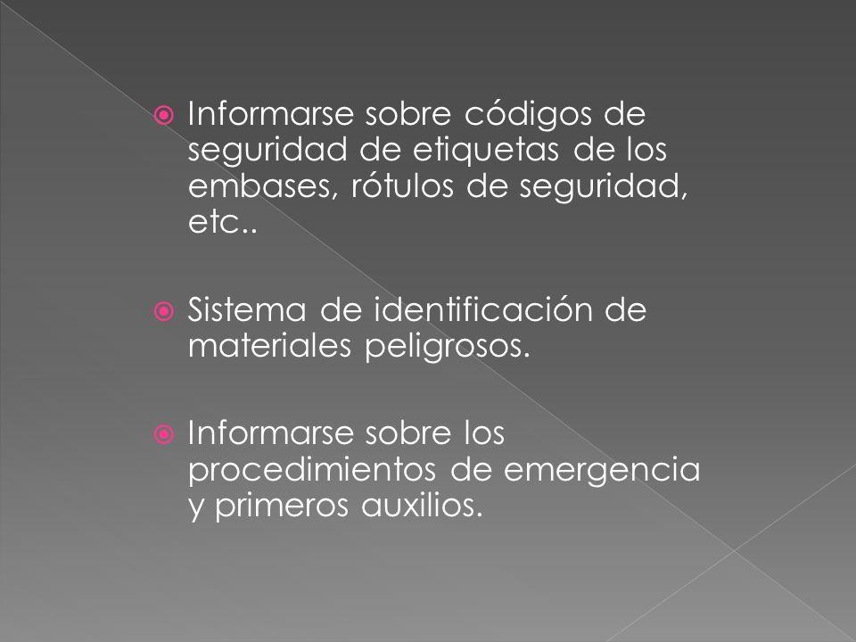 Informarse sobre códigos de seguridad de etiquetas de los embases, rótulos de seguridad, etc..
