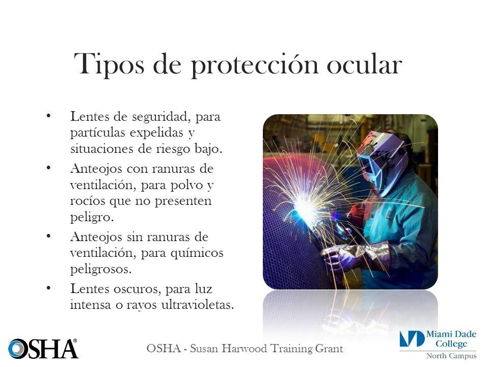 OSHA - Susan Harwood Training Grant Lentes de seguridad, para partículas expelidas y situaciones de riesgo bajo. Anteojos con ranuras de ventilación,