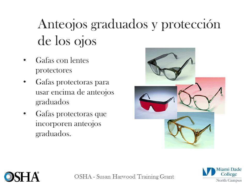 OSHA - Susan Harwood Training Grant Gafas con lentes protectores Gafas protectoras para usar encima de anteojos graduados Gafas protectoras que incorp