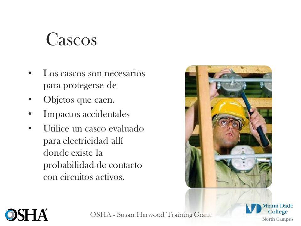 OSHA - Susan Harwood Training Grant Los cascos son necesarios para protegerse de Objetos que caen. Impactos accidentales Utilice un casco evaluado par