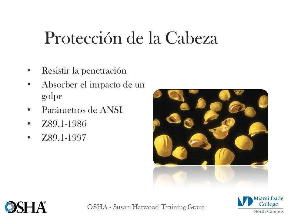OSHA - Susan Harwood Training Grant Resistir la penetración Absorber el impacto de un golpe Parámetros de ANSI Z89.1-1986 Z89.1-1997 Protección de la
