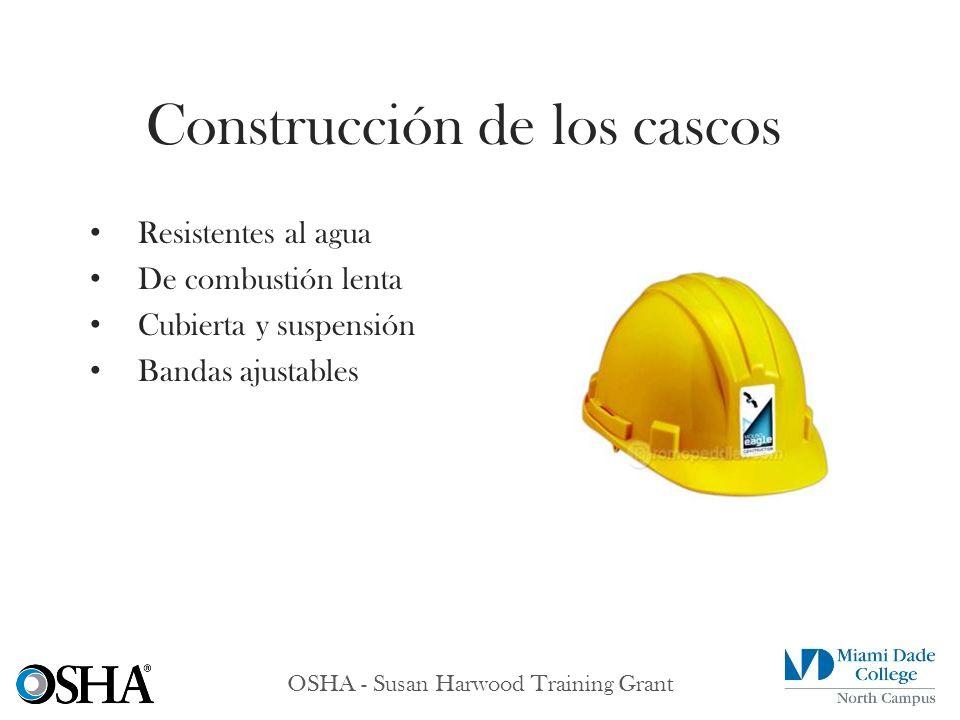 OSHA - Susan Harwood Training Grant Resistentes al agua De combustión lenta Cubierta y suspensión Bandas ajustables Construcción de los cascos