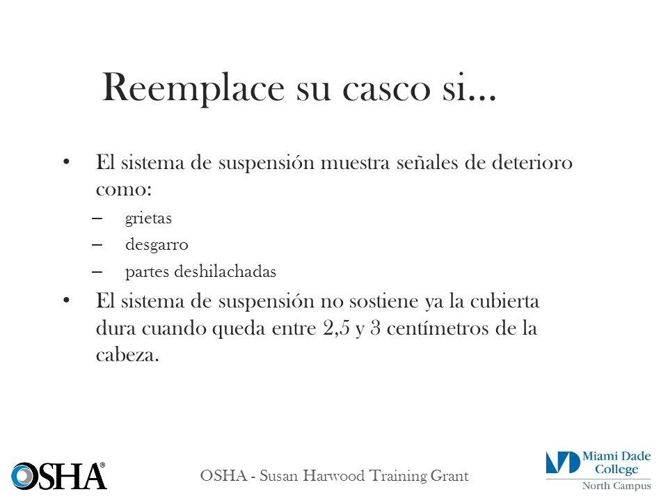 OSHA - Susan Harwood Training Grant El sistema de suspensión muestra señales de deterioro como: – grietas – desgarro – partes deshilachadas El sistema