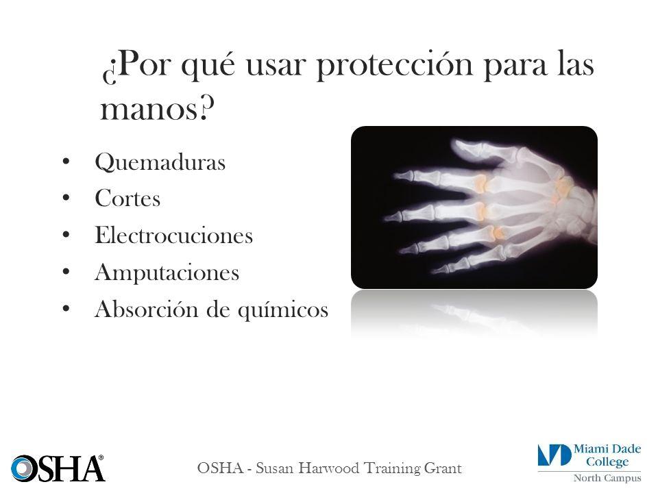 OSHA - Susan Harwood Training Grant Quemaduras Cortes Electrocuciones Amputaciones Absorción de químicos ¿Por qué usar protección para las manos?