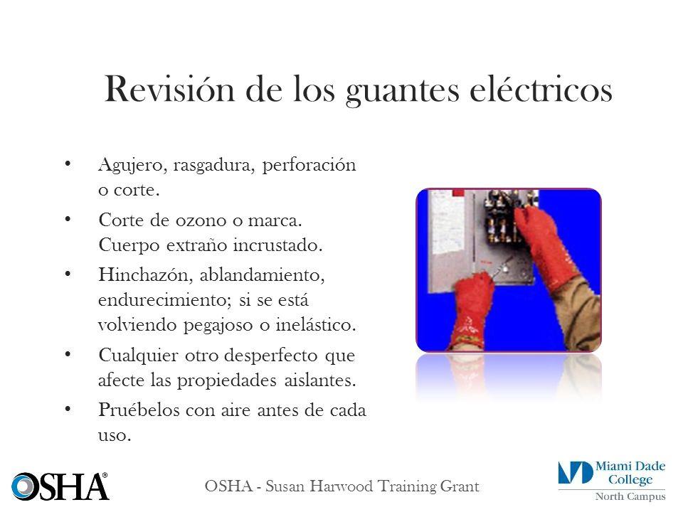 OSHA - Susan Harwood Training Grant Agujero, rasgadura, perforación o corte. Corte de ozono o marca. Cuerpo extraño incrustado. Hinchazón, ablandamien