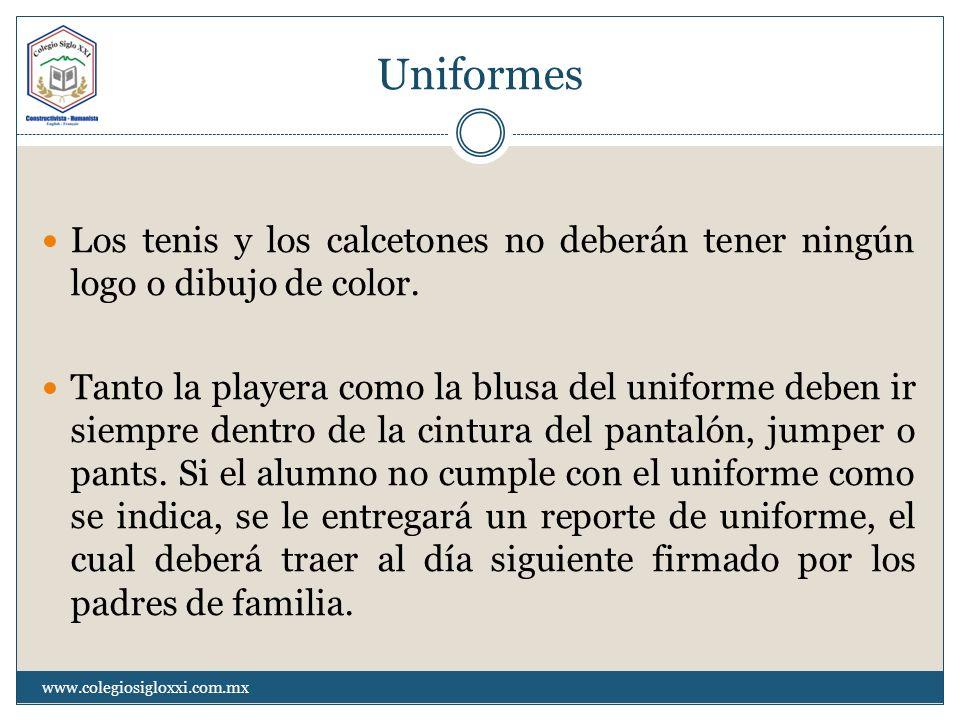 Uniformes Los tenis y los calcetones no deberán tener ningún logo o dibujo de color. Tanto la playera como la blusa del uniforme deben ir siempre dent