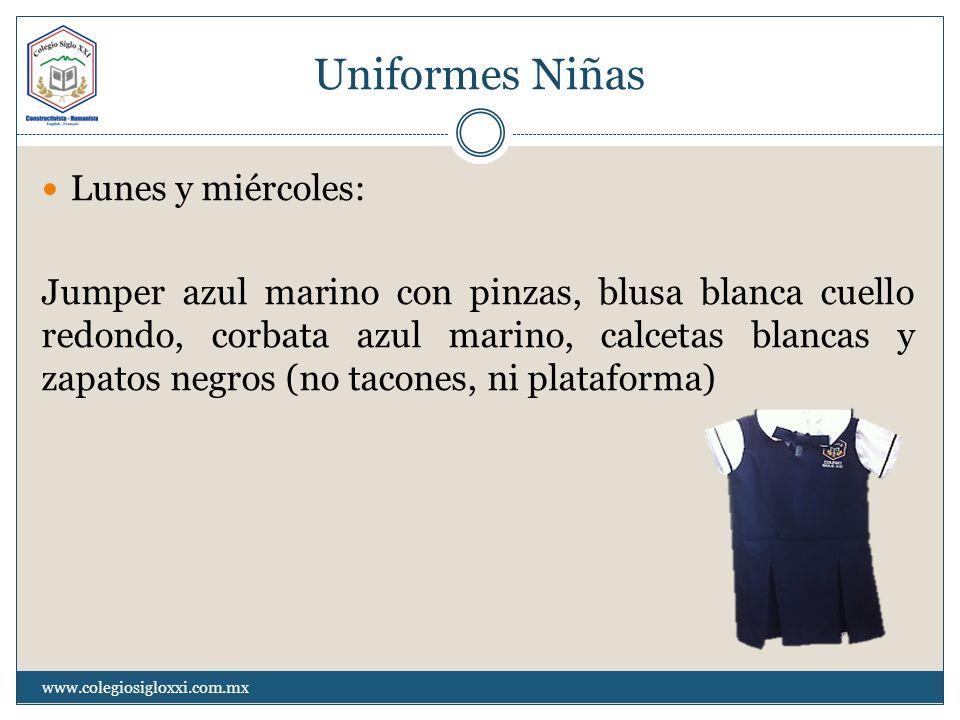 Uniformes Niñas Lunes y miércoles: Jumper azul marino con pinzas, blusa blanca cuello redondo, corbata azul marino, calcetas blancas y zapatos negros