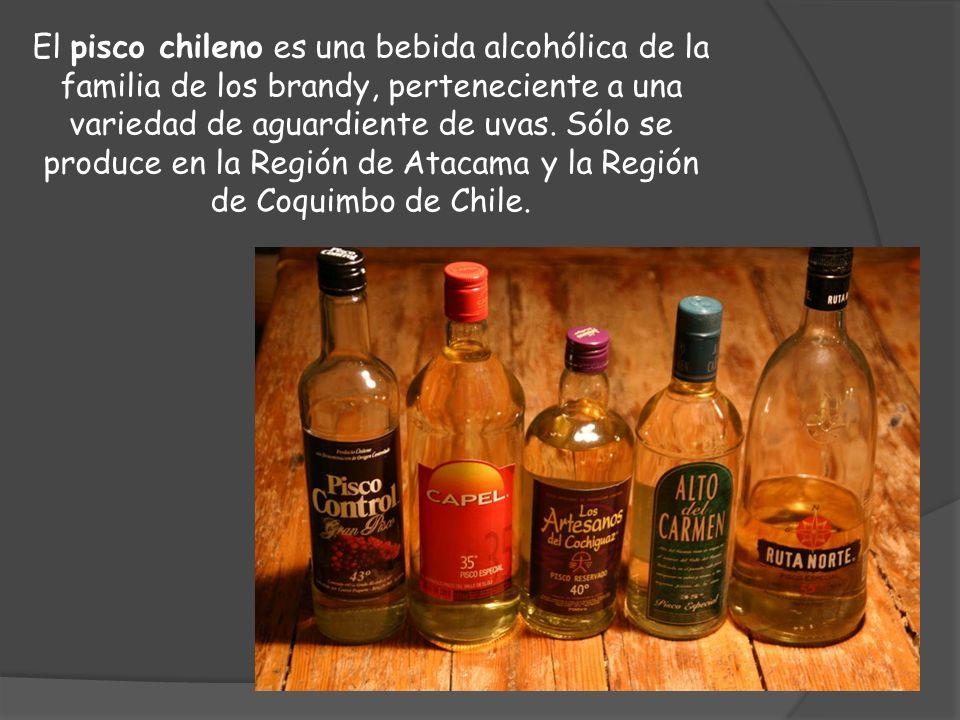 El pisco chileno es una bebida alcohólica de la familia de los brandy, perteneciente a una variedad de aguardiente de uvas. Sólo se produce en la Regi