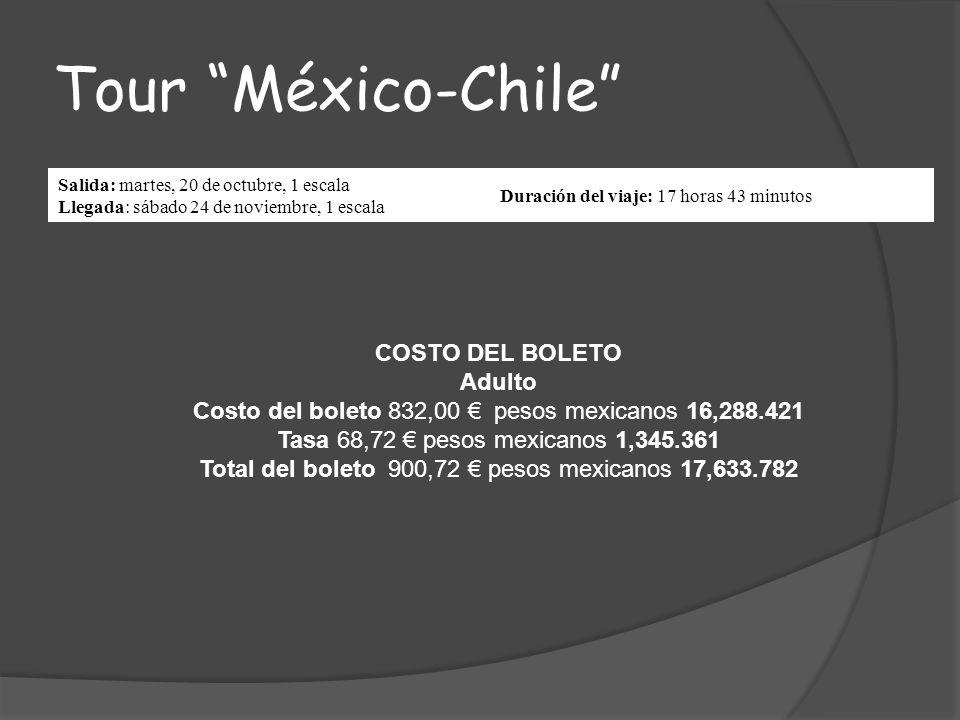 Tour México-Chile Salida: martes, 20 de octubre, 1 escala Llegada: sábado 24 de noviembre, 1 escala Duración del viaje: 17 horas 43 minutos COSTO DEL BOLETO Adulto Costo del boleto 832,00 pesos mexicanos 16,288.421 Tasa 68,72 pesos mexicanos 1,345.361 Total del boleto 900,72 pesos mexicanos 17,633.782