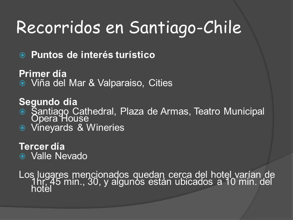 Recorridos en Santiago-Chile Puntos de interés turístico Primer día Viña del Mar & Valparaiso, Cities Segundo día Santiago Cathedral, Plaza de Armas,