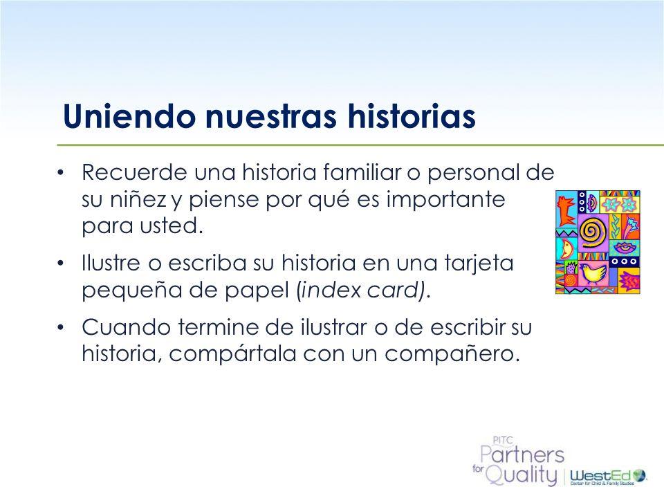 WestEd.org Uniendo nuestras historias Recuerde una historia familiar o personal de su niñez y piense por qué es importante para usted. Ilustre o escri