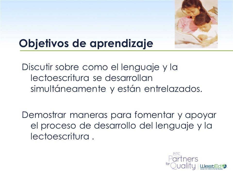 WestEd.org Discutir sobre como el lenguaje y la lectoescritura se desarrollan simultáneamente y están entrelazados. Demostrar maneras para fomentar y